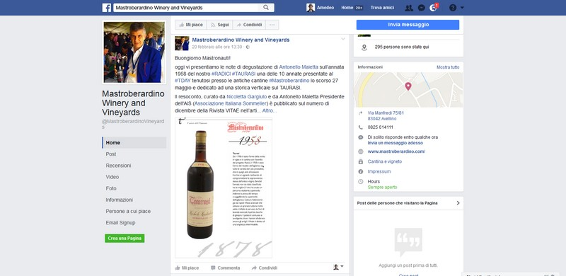 Mastroberardino in Facebook